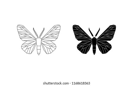 Peppered moth (Biston betularia) melanic and light form. Moths in the family Geometridae vector illustration isolated on white background.