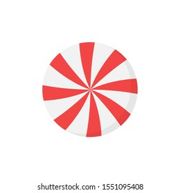 Peppermint candy round icon vector illustration. Sweet christmas treat, confectionery. Isolated cartoon graphic.