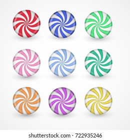Peppermint candy vector set. Sweet realistic collection of round sugar bon-bons with twisted colorful rays illustration isolated on white. Symbol of childish love for bright comfits and playdays.
