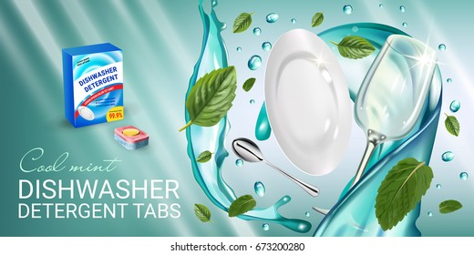 Peppermint fragrance dishwasher detergent tabs ads. Vector realistic Illustration with dishes in water splash and mint leafs. Horizontal banner