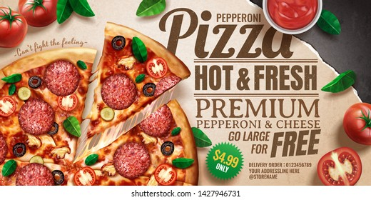 Pepperoni pizza ads with delicious ingredients on kraft paper background in 3d illustration