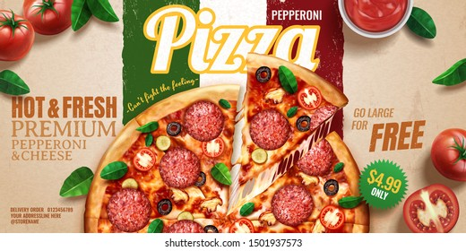 Pepperoni pizza banner ads on kraft paper italian flag background with tomatoes and basil leaves, 3d illustration top view perspective