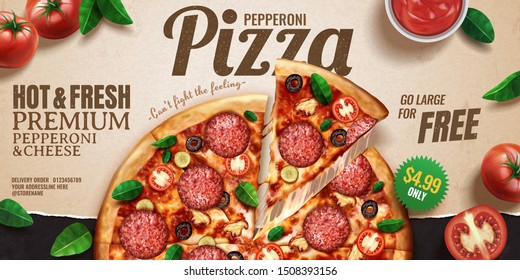 Pepperoni pizza banner ads on kraft paper background with tomatoes and basil leaves, 3d illustration top view perspective