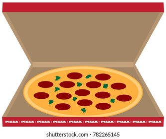 A pepperoni pizza in a box is ready to be enjoyed