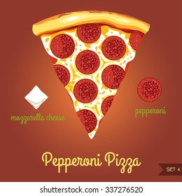Pepperoni pizza with ingredients (mozzarella cheese, sausage pepperoni) SET 4, vector illustration.