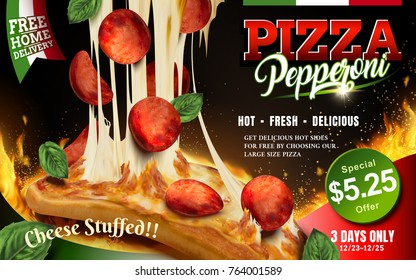 Mouthwatering pizza ads, Cheese pepperoni pizza with stringy cheese and delicious toppings isolated on flaming background, 3d illustration