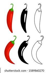 Peppers icons. Red hot chilli pepper, black and outline. Mexican or asian cuisine vector signs