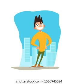 Peppy young man stay against background of the city. Cheerful smiling guy on sunny day. Emotional condition. Vector illustration with full of strength character.
