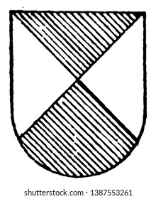 Per Saltire Ordinary is in vert and argent colors, vintage line drawing or engraving illustration.