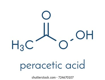 Peracetic acid (peroxyacetic acid, paa) disinfectant molecule. Organic peroxide commonly used as antimicrobial agent. Skeletal formula.