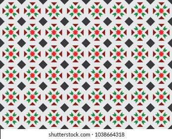 Peranakan Tiles Pattern Background Vector Illustration Singapore