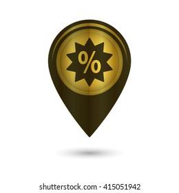 percent - black vector icon; golden  map pointer