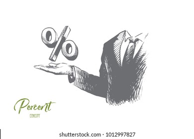 Percent concept. Hand drawn businessman hand with percent sign. Percent symbol on mans hand isolated vector illustration.