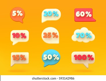 Percent discount number bubbles, promotional leaflet, promotion,on line store. Vector illustration. Render.