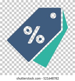 Percent Discount Tags icon. Vector pictogram style is a flat symbol, color, chess transparent background. Designed for software and web interface toolbars and menus.