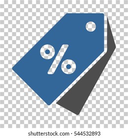 Percent Discount Tags icon. Vector pictograph style is a flat symbol, color, chess transparent background. Designed for software and web interface toolbars and menus.