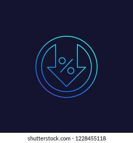 percent down, decline vector line icon