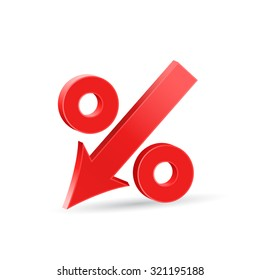 Percent down icon, crisis concept sign, 3d vector on white background, eps 10