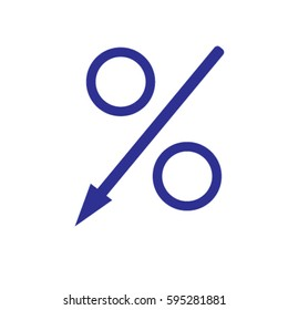 Percent down icon, decreasing percentage vector illustration