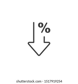 Percent down line icon isolated on white background. Vector illustration. Eps 10.