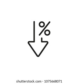 Percent down line icon. Percentage, arrow, reduction. Banking concept. Can be used for topics like investment, interest rate, finance