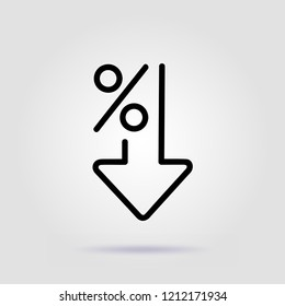 Percent down line icon. Percentage, arrow, reduction on gray background with soft shadow