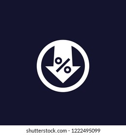 percent down vector icon