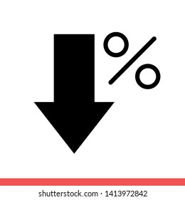 Percent down vector icon, low symbol. Simple, flat design for web or mobile app