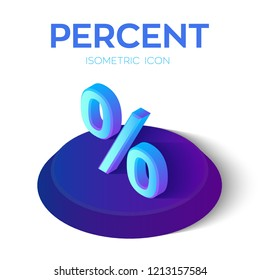 Percent Icon. 3D Isometric Percent sign. Created For Mobile, Web, Decor, Print Products, Application. Perfect for web design, banner and presentation. Vector Illustration.