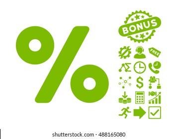 Percent icon with bonus icon set. Vector illustration style is flat iconic symbols, eco green color, white background.