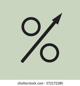 Percent up icon, increasing percentage vector illustration