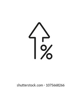Percent up line icon. Percentage, arrow, growth. Banking concept. Can be used for topics like investment, interest rate, finance