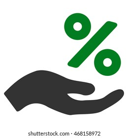 Percent Offer Hand icon. Vector style is bicolor flat iconic symbol with rounded angles, green and gray colors, white background.