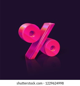 Percent sign. Neon Pink percent sign on dark background. Seasonal sales and discounts. Vector illustration
