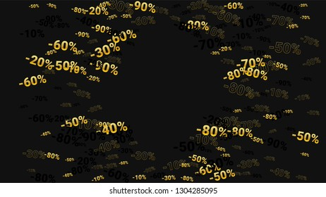 Percent Sings on Dark Background. Black Poster with Silver Percent Sings and Snowflakes. Vector Discount Sale Background.