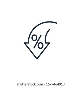Percentage, arrow, reduction. Reduction of fees, commissions, investments.Vector linear icon isolated on white background.