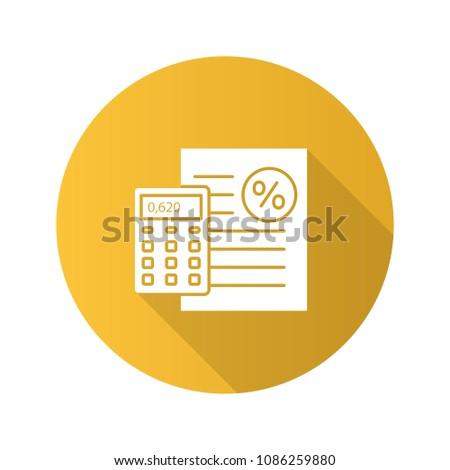 percentage calculator flat design long shadow stock vector royalty