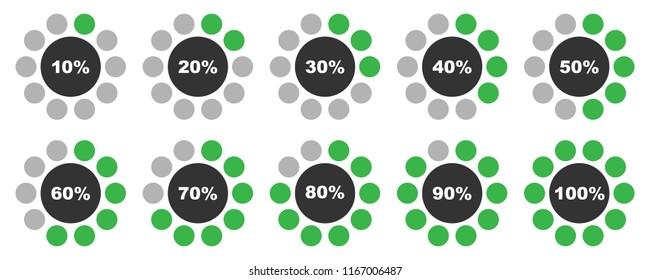 Percentage diagrams set, round grey and green percentage indicators 10 20 30 40 50 60 70 80 90 100 percent %, vector illustration.