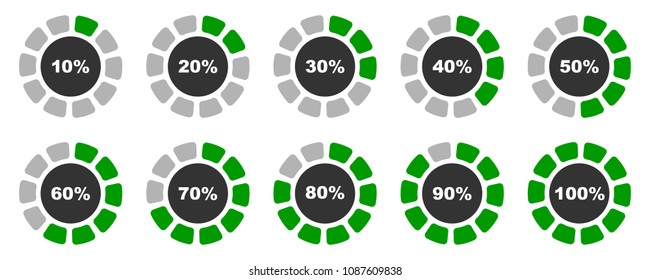 Percentage diagrams set, slightly rounded grey and green percentage indicators 10 20 30 40 50 60 70 80 90 100 percent %, vector illustration.