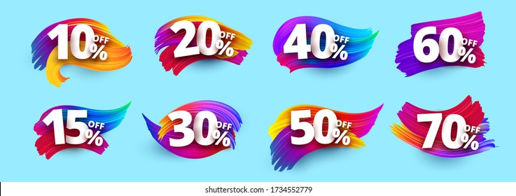 Percentage discount. Sale. Color, brush, smear oil. Isolated Elements. Vector illustration