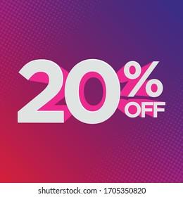 Percentage discount symbol 20% off