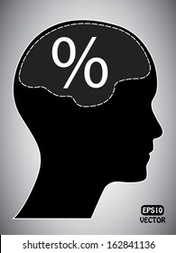 Percentage mark with human head and brain. Abstract easy to edit eps10 vector design.