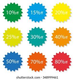 Percentage Off Sale labels different  color stylish