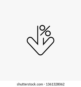 Percentage sign down. Arrow symbol reduction. Gray background. Vector illustration