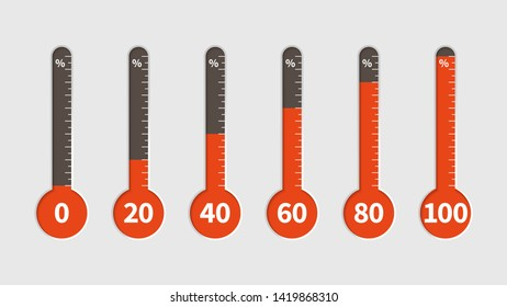 Percentage thermometer. Temperature measurement, percentages indicator with heating progress scale, temp different climate levels vector set