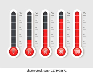 Percentage thermometer. Temperature thermometers with percentages scale. Thermostat temp business measurement vector isolated set
