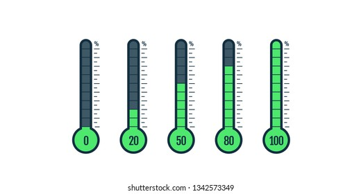 Percentage thermometer. Temperature thermometers with percentages scale. Thermostat temp business goal measurement vector isolated set