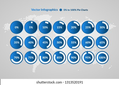 Percentage vector infographic icons on world map background. 0 5 10 15 20 25 30 35 40 45 50 55 60 65 70 75 80 85 90 95 100 percent circle charts for business, finance, web, downloading, progress