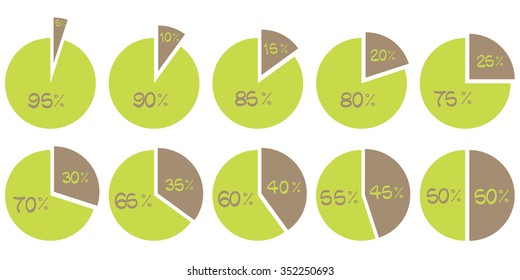 Percentage vector infographics. 5 10 15 20 25 30 35 40 45 50 55 60 65 70 75 80 85 90 95 percent pie charts. Circle diagrams isolated. Business illustration elements
