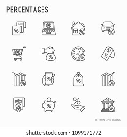 Percentages concept with thin line icons set: loan, credit, offer, interest rate, sale, discount, percentage graph of growth or fall, leasing, on screen of smartphone. Modern vector illustration.